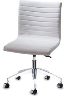 Cadeira Quiz Assento Linho Branco Com Base Rodizio Em Aluminio - 46920 - Sun House