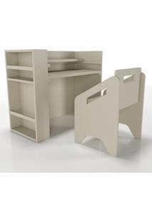 Escrivaninha+Cadeira+Porta-Livros Lumi Cinza Timber