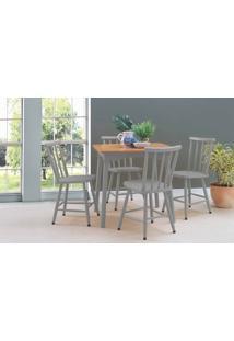 Mesa Com 4 Cadeiras De Jantar Mimo 80Cm Verniz Jatobá E Laca Cinza Concreto