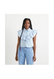 Camisa Jeans Sem Estampa E Com Babado Frontal   Blue Steel   Azul   M