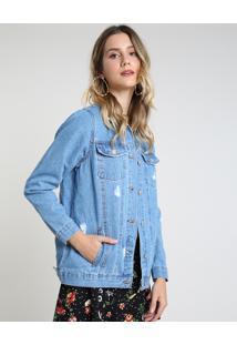 Jaqueta Jeans Feminina Longa Destroyed Com Bolsos Azul Médio