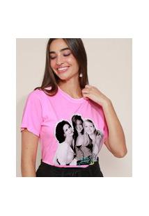Camiseta Feminina Friends Manga Curta Decote Redondo Rosa