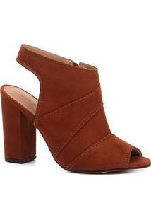 Ankle Boot Shoestock Meia Pata Nobuck Feminina - Feminino-Caramelo