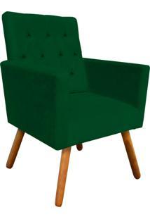 Poltrona Decorativa Nina Capitonê Suede Verde D'Rossi