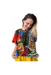 T-Shirt Cropped Farm Mix Selvagem Verde/Vermelho