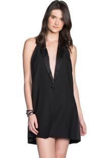 Vestido Amaro Curto Crepe Com Cetim - Feminino