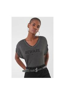 Camiseta Ellus Spray Beware Grafite