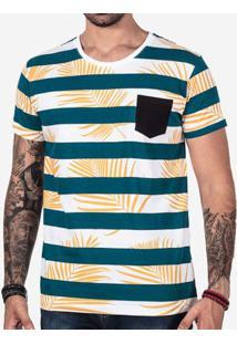 Camiseta Listrada Folhas 102441
