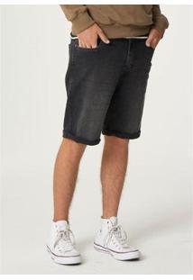 Bermuda Jeans Em Denim Moletom Masculina - Masculino-Preto