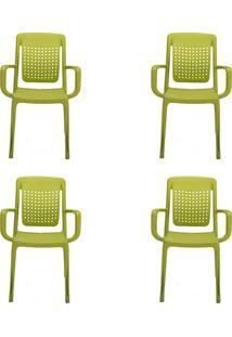 Conjunto Com 4 Cadeiras De Jardim Factory Verde