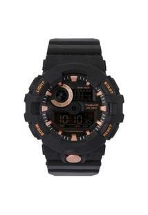 Relógio Masculino Digital Tg127 Preto E Rosê