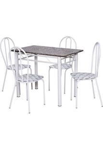 Conjunto De Mesa Monique Com 4 Cadeiras Branca Capitonê