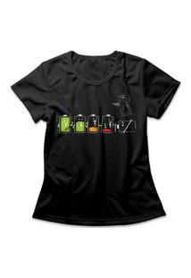 Camiseta Feminina Battery Life Preto