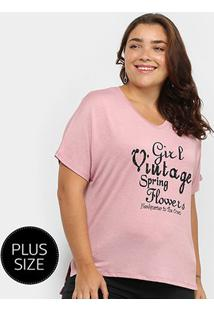 Camiseta City Lady Girl Vintage Plus Size Feminina - Feminino-Rosa