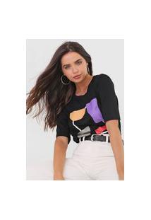 Camiseta Maria Valentina Geométrica Preta