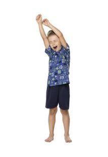 Pijama Infantil Quimby Estampado Masculino - Masculino-Azul