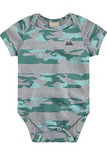 Body Infantil Milon Manga Curta Estampado Bebê - Masculino-Mescla