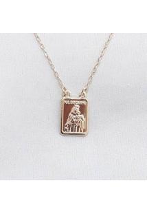 Colar Escapulário Nossa Senhora Do Carmosagrado Coração De Jesus Banhado A Ouro - Feminino-Dourado