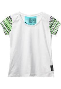 Camiseta Baby Look Feminina Algodão Listrada Manga Curta - Feminino-Branco+Verde