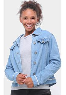 Jaqueta Jeans Uber Bolsos Feminina - Feminino-Azul Claro