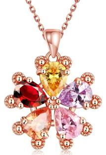 Colar Divanet Flor De Zirconias Rosa