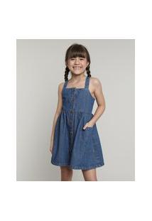 Vestido Jeans Infantil Com Bolso E Botões Alça Larga Azul Escuro
