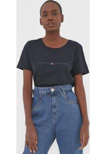 Camiseta Tommy Hilfiger Tiara Round-Nk Azul-Marinho - Azul Marinho - Feminino - Algodã£O - Dafiti