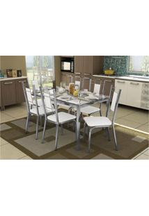 Conjunto De Mesa Com 6 Cadeiras Crome Cromado E Branco Kappesberg
