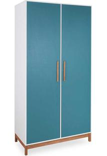 Roupeiro Infantil Guarda-Roupa Mdf Branco E Azul 2 Portas Moderno Moore - 104,6X53X206,5 Cm