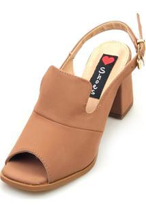 Sandália Salto Love Shoes Bloco Ankle Boot Fechado Quadrado Marrom