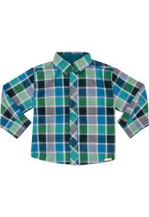 Camisa Look Jeans Manga Longa Xadrez - Verde - Menino - Algodã£O - Dafiti