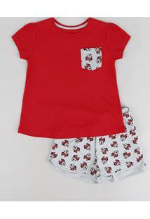 0b51df11c5b32a Pijama Infantil Minnie Com Bolso Manga Curta Decote Redondo Vermelho
