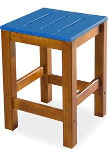 Banqueta Baixa Sem Encosto Colorida De Madeira Maciça Taeda Nozes Olga - Verniz Nozes/Azul 32X32X45Cm