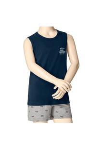 Pijama Infantil Menino Curto Malwee 1000088329 Azul Marinho