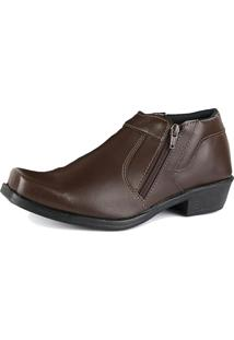 Bota Social Cr Shoes Com Ziper R14000M Marrom