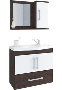 Gabinete Suspenso Para Banheiro Atenas 56,5X63,5Cm Branco E Café