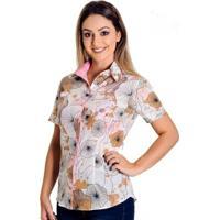 dc081322ad Camisa Pimenta Rosada Kate Floral - Feminino-Branco+Rosa