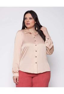 Camisa Almaria Plus Size Pianeta Básica Cetim Rosa