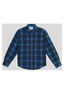 Camisa Flanelada Infantil 1 A 3 Anos Xadrez Azul Royal