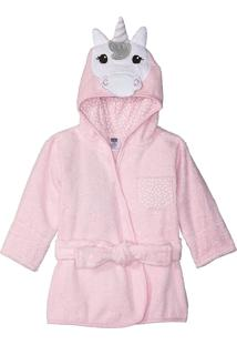 Roupão Para Bebê Unicórnio Com Capuz Hudson Baby Rosa