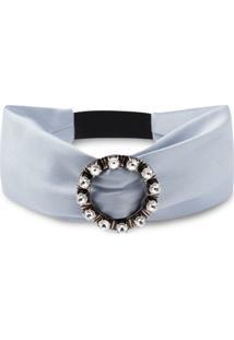 Miu Miu Crystal Buckle Headband - Azul