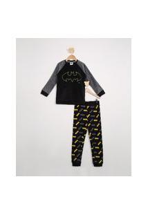 Pijama De Fleece Infantil Raglan Batman Manga Longa Preto