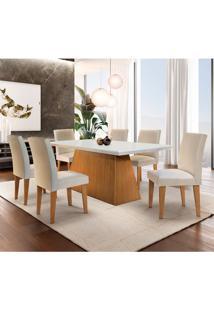 Conjunto De Mesa De Jantar Luna Com 6 Cadeiras Estofadas Grécia I Veludo Off White E Creme