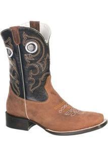 Bota Couro Malbork Country Texana Bico Quadrado Masculina - Masculino-Marrom