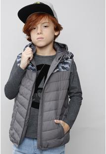 Colete Puffer Infantil Camuflado Com Gorro Cinza
