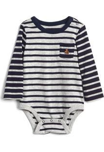 Body Gap Infantil Listrado Bolso Cinza/Azul-Marinho