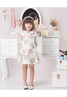 Vestido Infantil Linha A Em Malha Com Recorte Lateral Estampa Floral Rosas