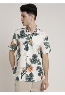 Camisa Masculina Tradicional Com Linho Estampada Floral Manga Curta Bege Claro