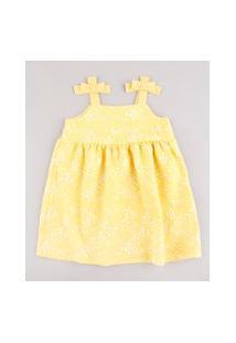 Vestido Infantil Estampado Floral Com Laços Alça Média Amarelo