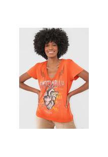 Camiseta Colcci Emotionally Laranja